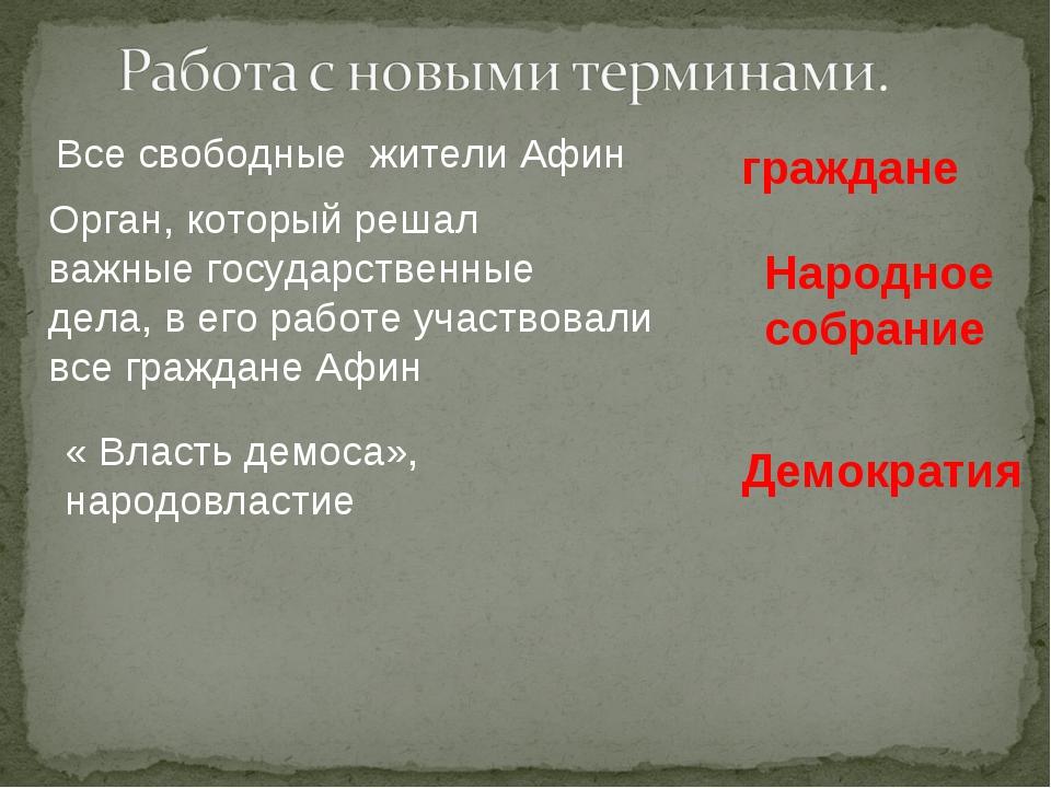 Все свободные жители Афин граждане Орган, который решал важные государственны...