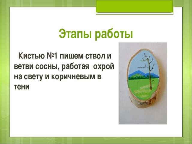 Этапы работы Кистью №1 пишем ствол и ветви сосны, работая охрой на свету и ко...