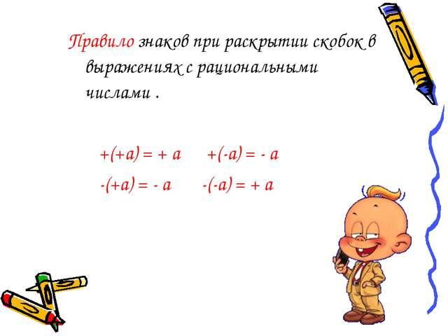 Правило знаков при раскрытии скобок в выражениях с рациональными числами . +(...