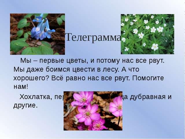 Телеграмма Мы – первые цветы, и потому нас все рвут. Мы даже боимся цвести в...