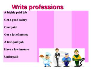 Write professions A highly paid job  	 	 	  Get a good salary  	 	 	  Overpai