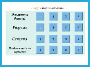 1 1 1 1 2 2 2 3 3 3 4 4 4 4 2 3 1 тур «Ворос-ответ» Элементы детали Разре