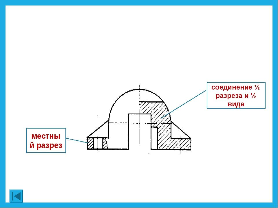 соединение ½ разреза и ½ вида местный разрез