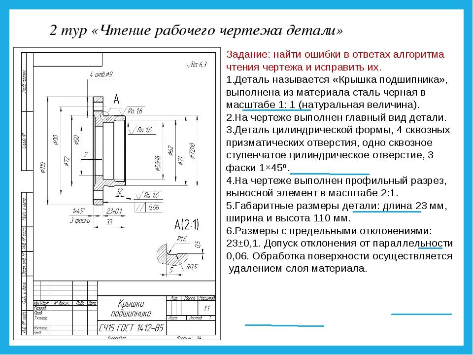 2 тур «Чтение рабочего чертежа детали» Задание: найти ошибки в ответах алгори...