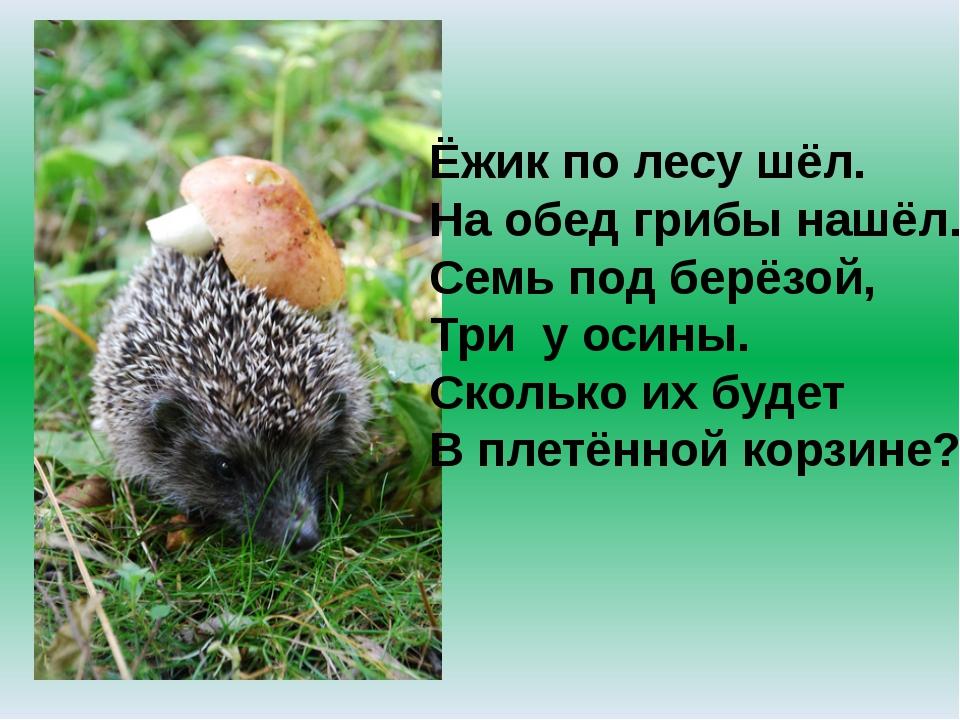 Ёжик по лесу шёл. На обед грибы нашёл. Семь под берёзой, Три у осины. Сколько...