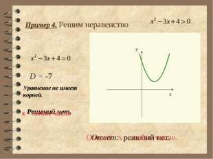 Пример 4. Решим неравенство Решений нет. Ответ: решений нет. D = -7 Уравнение