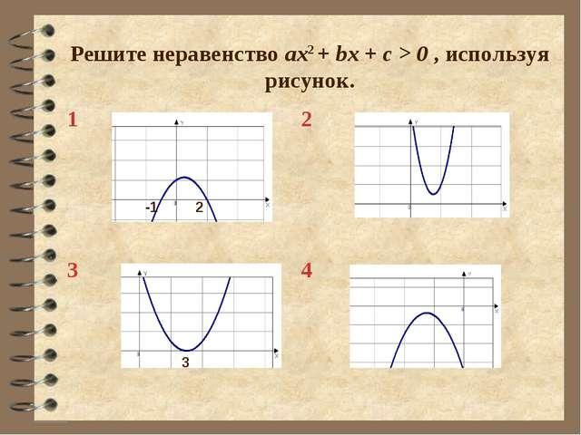 Решите неравенство ax2 + bx + c > 0 , используя рисунок. -1 2 3 12 34
