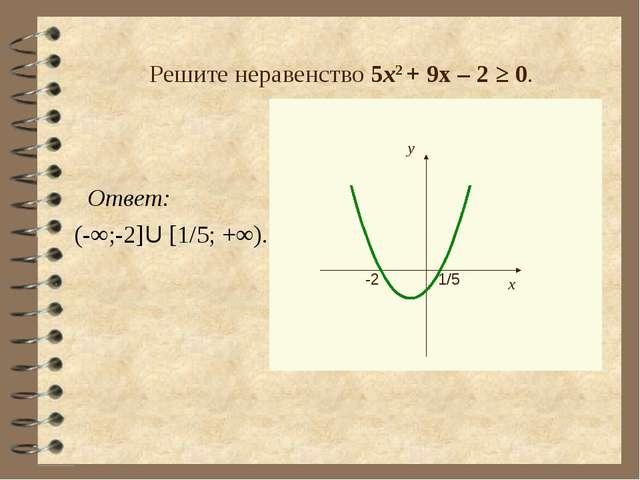 Решите неравенство 5х2 + 9х – 2 ≥ 0. Ответ: (-∞;-2]U [1/5; +∞).