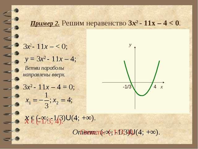 Пример 2. Решим неравенство 3х2 - 11х – 4 < 0. 3x2 - 11x – < 0; y = 3x2 - 11x...