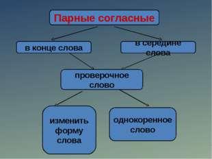 Парные согласные в конце слова в середине слова проверочное слово изменить фо