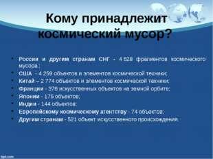 Кому принадлежит космический мусор? России и другим странам СНГ - 4528 фрагм