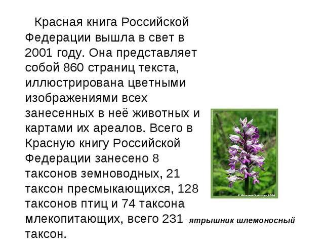 Красная книга Российской Федерации вышла в свет в 2001 году. Она представл...