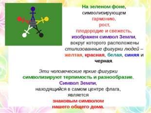 На зеленом фоне, символизирующем гармонию, рост, плодородие и свежесть, изобр