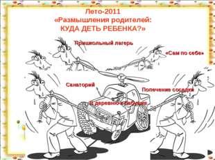 Лето-2011 «Размышления родителей: КУДА ДЕТЬ РЕБЕНКА?» http://aida.ucoz.ru *
