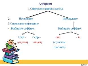 Алгоритм 1.Определяю время глагола 2. Настоящее Прошедшее 3.Определяю спряжен