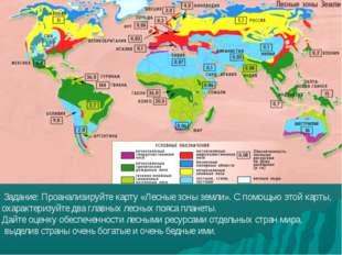 Задание: Проанализируйте карту «Лесные зоны земли». С помощью этой карты, ох
