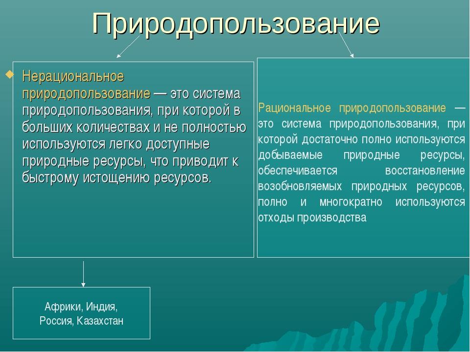 Природопользование Нерациональное природопользование — это система природопол...