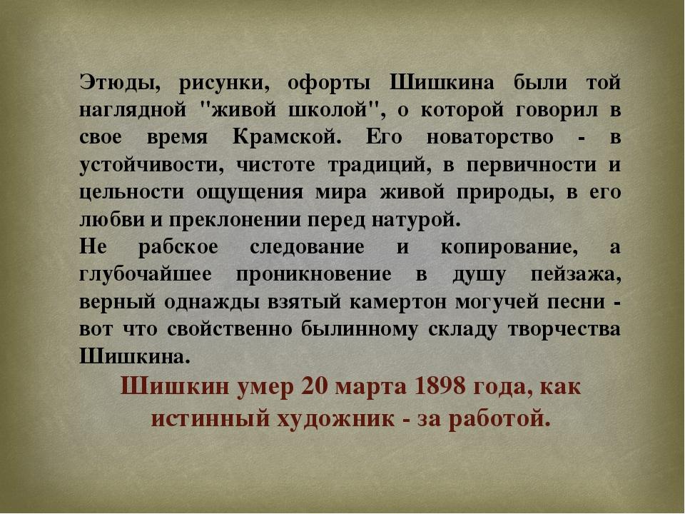 """Этюды, рисунки, офорты Шишкина были той наглядной """"живой школой"""", о которой г..."""