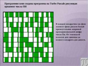 Программистами создана программа на Turbo Pascale рисующая орнамент числа ПИ