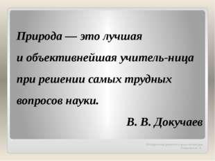 Методическая разработка урока литературы Танашевич А. А. Природа — это лучшая