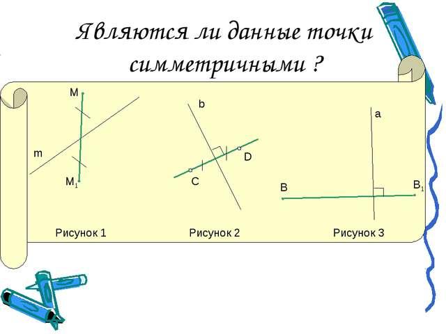 Являются ли данные точки симметричными ? М М1 m С D b B В1 а Рисунок 1 Рисуно...
