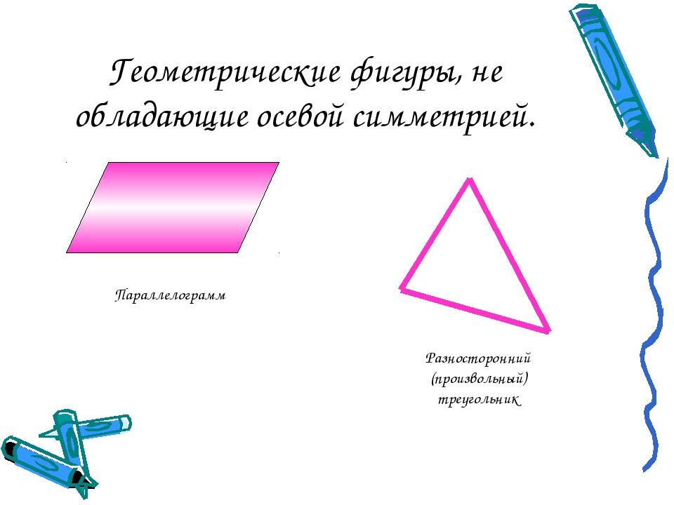Геометрические фигуры, не обладающие осевой симметрией. Параллелограмм Разнос...