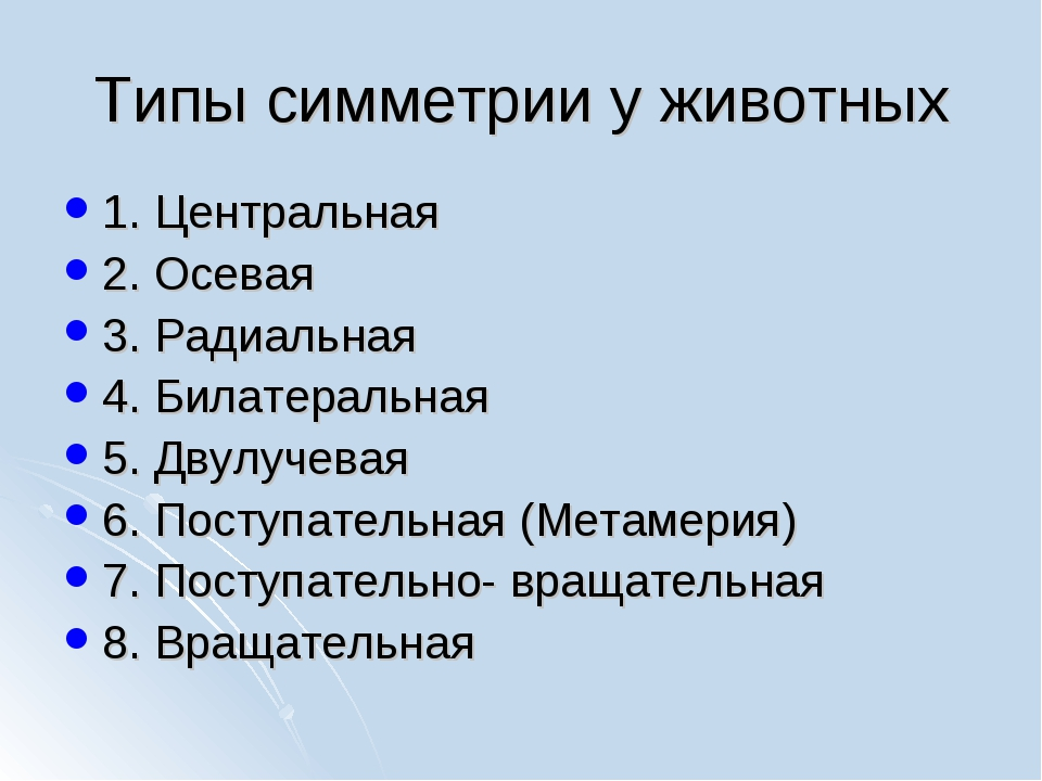 Типы симметрии у животных 1. Центральная 2. Осевая 3. Радиальная 4. Билатерал...