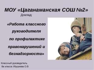 МОУ «Цаганаманская СОШ №2» Доклад: «Работа классного руководителя по профилак