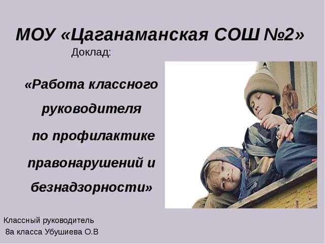 МОУ «Цаганаманская СОШ №2» Доклад: «Работа классного руководителя по профилак...