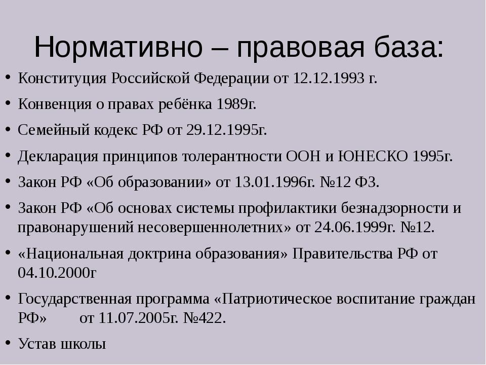 Нормативно – правовая база: Конституция Российской Федерации от 12.12.1993 г....