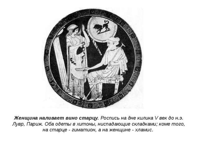 Женщина наливает вино старцу. Роспись на дне килика V век до н.э. Лувр, Париж...