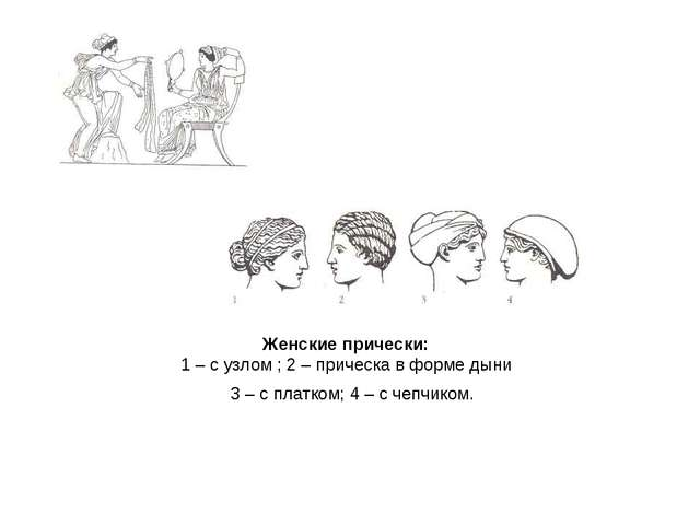 Женские прически: 1 – с узлом ; 2 – прическа в форме дыни 3 – с платком; 4 –...