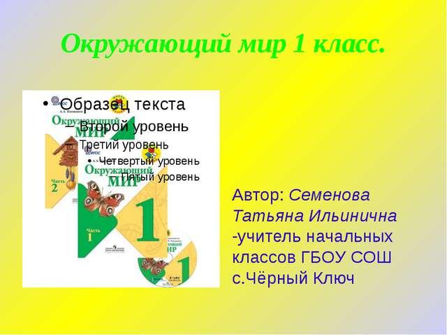 Окружающий мир 1 класс. Автор: Семенова Татьяна Ильинична -учитель начальных...