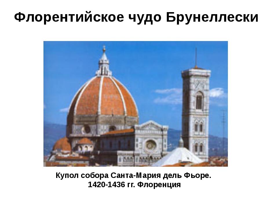 Флорентийское чудо Брунеллески Купол собора Санта-Мария дель Фьоре. 1420-1436...