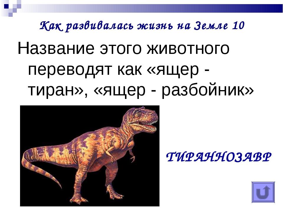 Как развивалась жизнь на Земле 10 Название этого животного переводят как «яще...