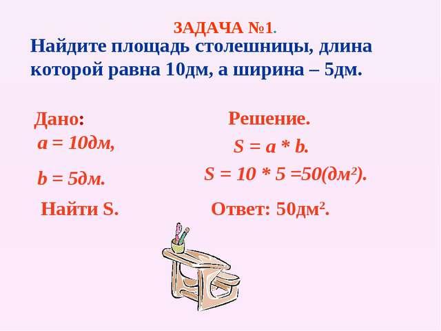 Найдите площадь столешницы, длина которой равна 10дм, а ширина – 5дм. Дано: a...
