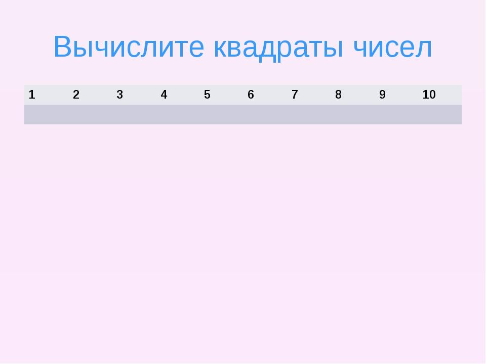 Вычислите квадраты чисел 12345678910
