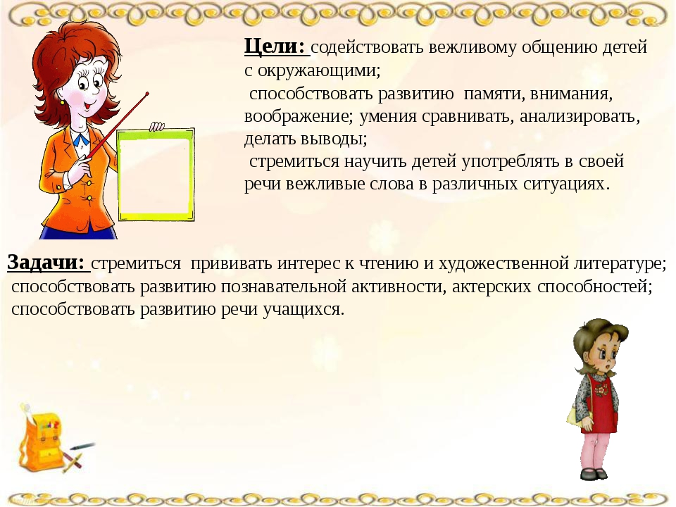 Цели: содействовать вежливому общению детей с окружающими; способствовать раз...