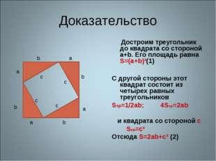 Доказательство Достроим треугольник до квадрата со стороной a+b. Его площадь