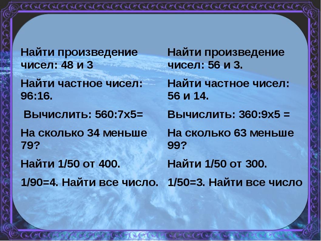 Найти произведение чисел: 48 и 3 Найти частное чисел: 96:16. Вычислить: 560:7...