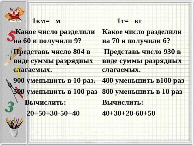 1км= м Какое число разделили на 60 и получили 9? Представь число 804 в виде...