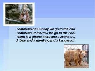 Tomorrow on Sunday we go to the Zoo. Tomorrow, tomorrow we go to the Zoo. The