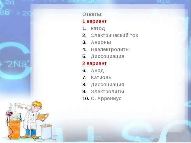 Ответы: 1 вариант катод Электрический ток Анионы Неэлектролиты Диссоциация 2...