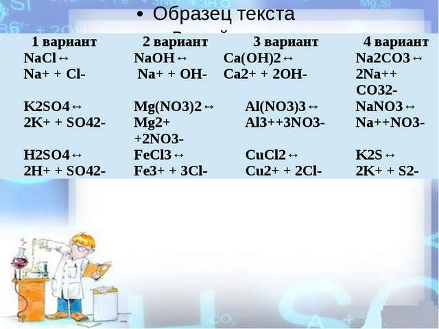 1 вариант 2 вариант 3 вариант 4 вариант NaCl↔ Na++Cl- NaOH↔ Na++ OH- Ca(OH)2...