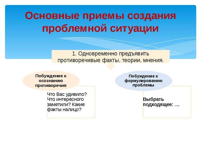 Основные приемы создания проблемной ситуации 1. Одновременно предъявить проти...