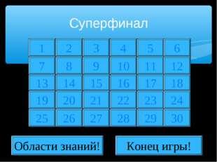 Суперфинал 1 2 7 8 13 19 25 14 20 26 3 4 5 9 10 11 15 16 17 21 22 23 27 28 29