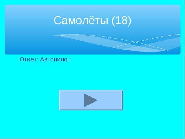 Ответ: Автопилот. Самолёты (18)