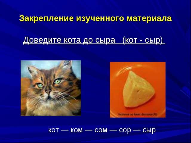 Закрепление изученного материала Доведите кота до сыра (кот - сыр) кот — ком...