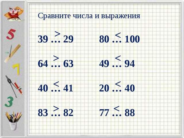 Сравните числа и выражения 39 … 29 80 … 100 64 … 63 49 … 94 40 … 41 20 … 40...