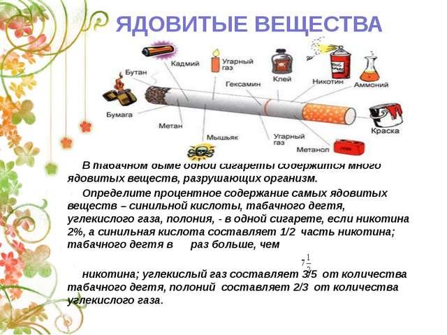 В табачном дыме одной сигареты содержится много ядовитых веществ, разрушающи...